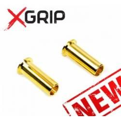 X-GRIP Adattatore maschio perno da 5mm e foro 4mm Dorato 2 pezzi (art. X-GRIP-9001)