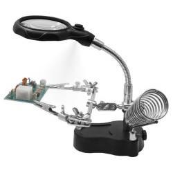 Siva Toys Supporto snodabile per saldatura con LED, Lente e porta saldatore (art. HH3)