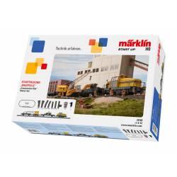 Marklin Confezione di avvio con Locomotiva, Carro gru e a sponde per trasporto ruspa 230 volt (art. 29183)