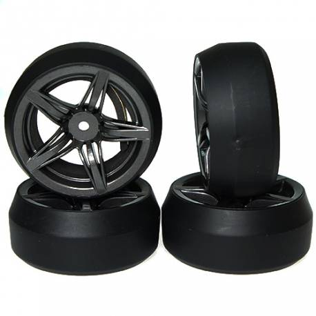 Yeah Racing Gomme Drift Spec D Offset +3 cerchio 5 raggi Grigio Scuro (4) (art. WL-0076)