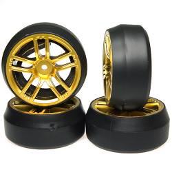Yeah Racing Gomme Drift Spec D Offset +3 CX10 cerchio 10 raggi Oro (4) (art. WL-0090)
