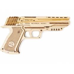 """Ugears Modello pistola meccanica """"Wolf-01 Handgun"""" in legno da assemblare (art. SI-70047)"""
