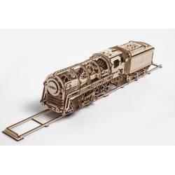Ugears Modello Locomotiva a Vapore 460 con vagone in legno da assemblare (art. SI-70012)