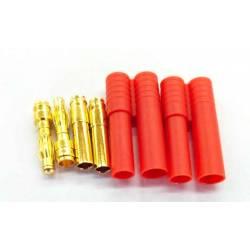 Maxpro Coppia connettore gold 4mm dorato con guscio in plastica (art. MAXCP19)
