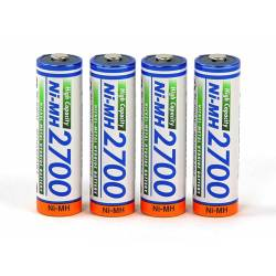 Panasonic Batterie a stilo 1,2V formato AA alta capacità 2700mAh blister da 4 pezzi (art. AA2700-4)
