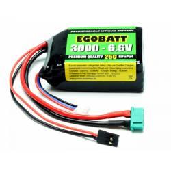 Pichler Batteria Li-Fe EGOBATT 3000mAh 6,6V 25C 2 celle attacco JR e MPX (art. C8354)