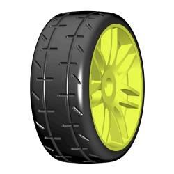 GRP Tyres Gomme 1/8 GT T01 REVO S1 XXSoft Incollata su cerchio Giallo 1 Paio (art. GTY01-S1)