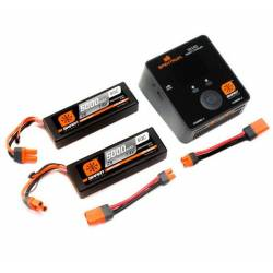Spektrum Set Smart Powerstage 2 Batteria Lipo 2S 5000mAh e Smart S2100 AC (art. SPMXPS4I)