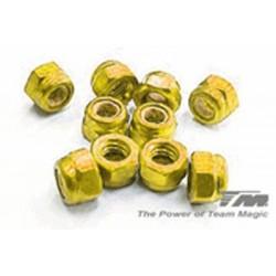 Team Magic Dadi autobloccanti M3 Alluminio Gold 10 pzz (111007GD