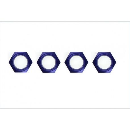 Kyosho Dadi ruota alluminio blu con nylon 4 pezzi (art. IFW336BL)