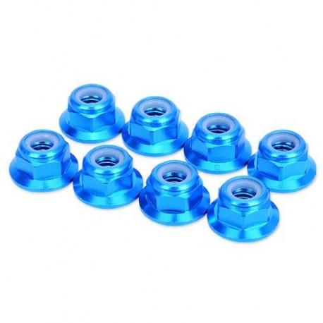 HobbyPro Dadi autobloccanti M3 Alu flangiati Blu 8 pz (HM3FBU)
