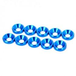 HobbyPro Rondelle coniche svasate M3 Alluminio Blu (art. HW3BU)