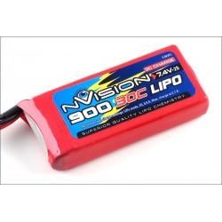 Batteria nVision Li-po 7,4V 900mAh 30C BEC (art. NVO1801)