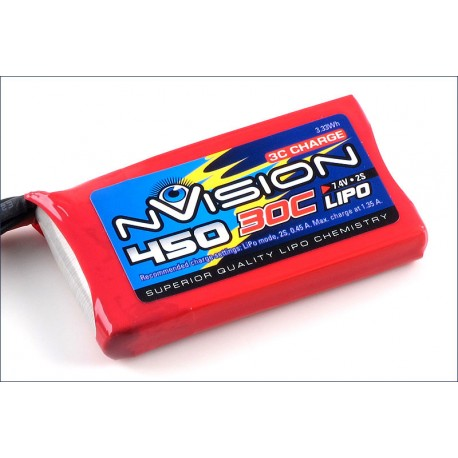 Batteria nVision Li-po 7,4V 450mAh 30C BEC (art. NVO1800)