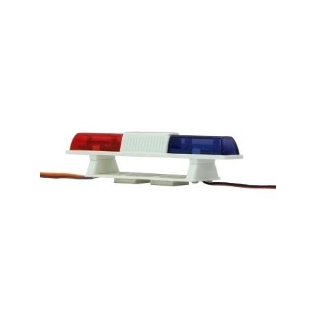 Lampeggiante doppio a led blu/rosso L 105mm H 22mm (art. 505507)