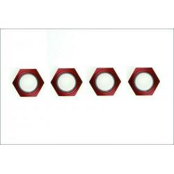 Kyosho Dadi ruota alluminio rosso con nylon 4 pezzi (art. IFW336R)