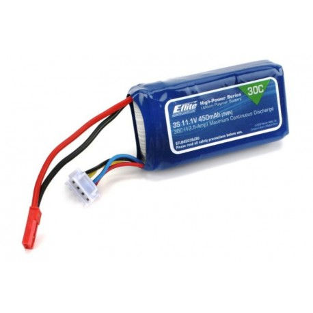 E-flite Batteria Li-Po 3S 11,1V 450mAh 30C 18AWG (art. EFLB4503SJ30)