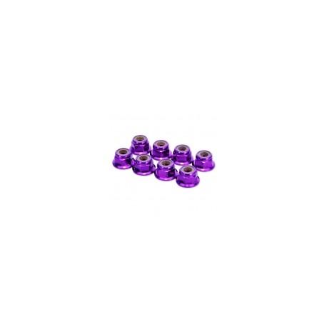 HobbyPro Dadi autobloccanti M3 Alu flangiati Viola 8 pz (HM3FPU)
